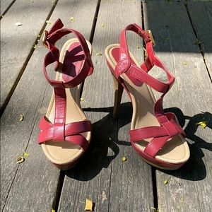 Women's JustFab red strappy heels